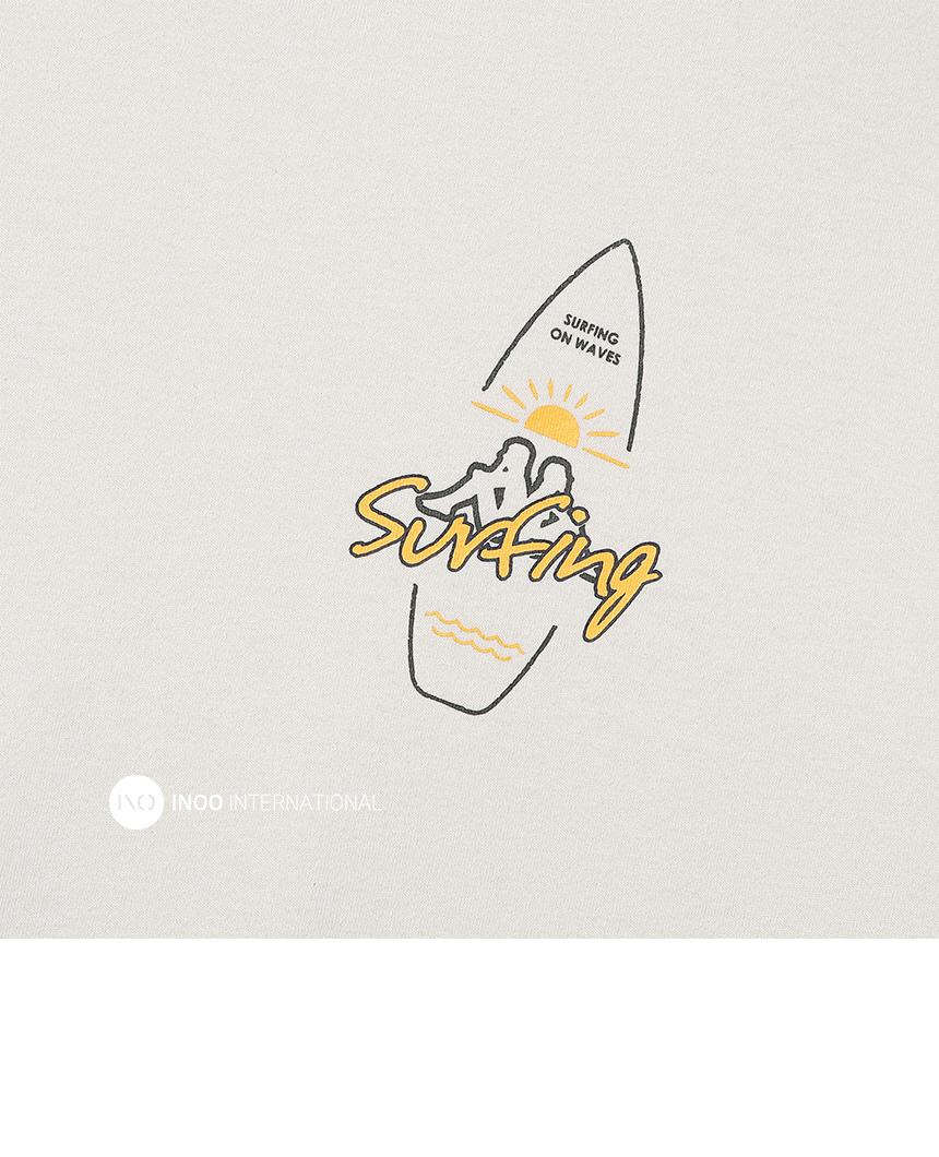 카파(KAPPA) 222반다 SURFING 로고 반팔티 베이지 KKRS290MD