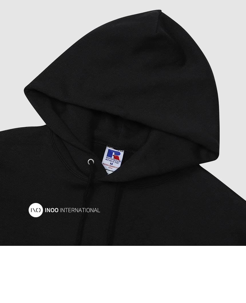 러셀 애슬레틱(RUSSELL ATHLETIC) 로고 풀오버 오버핏후드티 BLACK