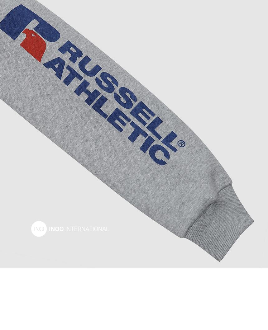 러셀 애슬레틱(RUSSELL ATHLETIC) 로고 풀오버 오버핏후드티 H.GREY